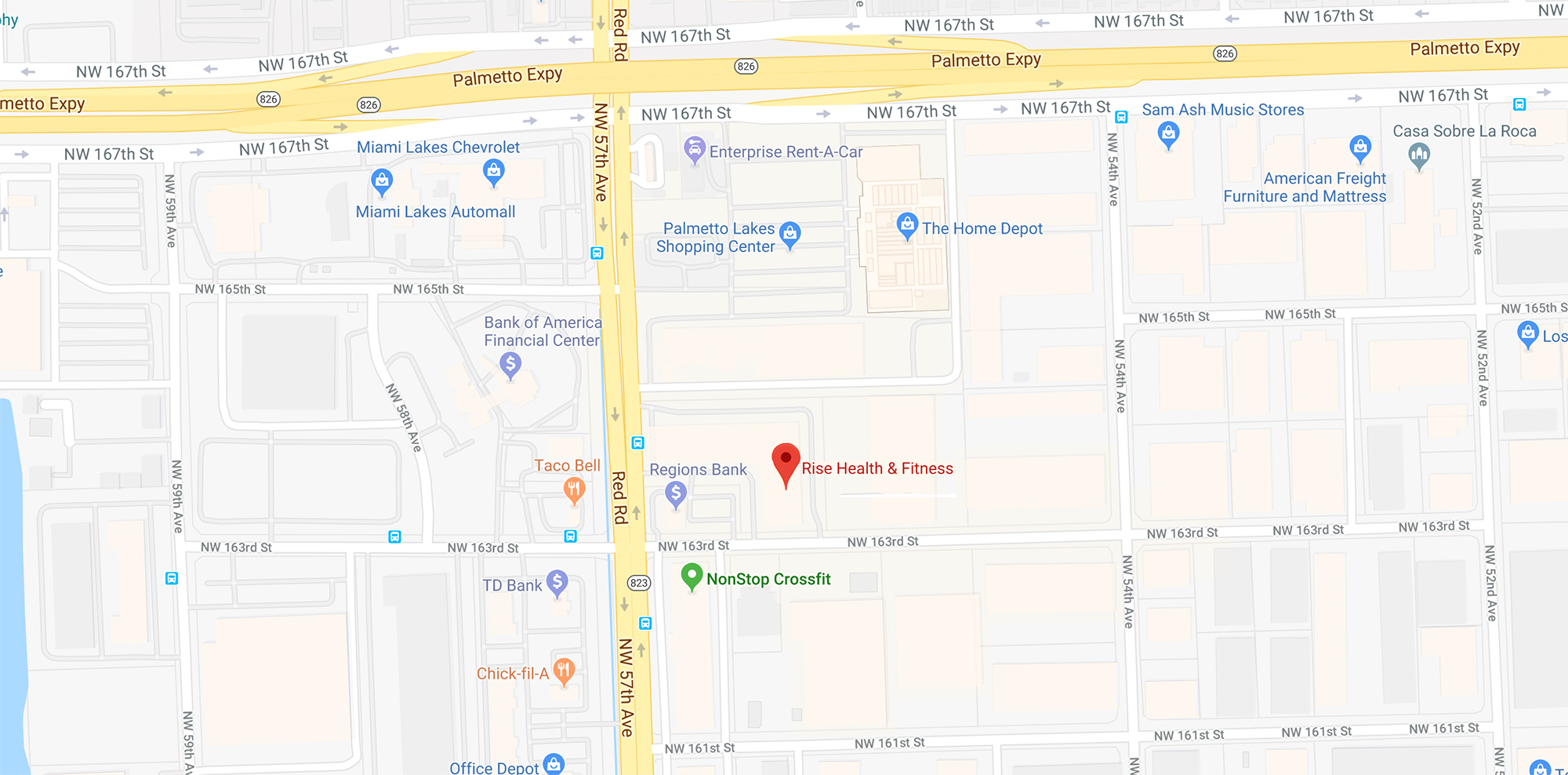 Rise Fitness Miami Location Map