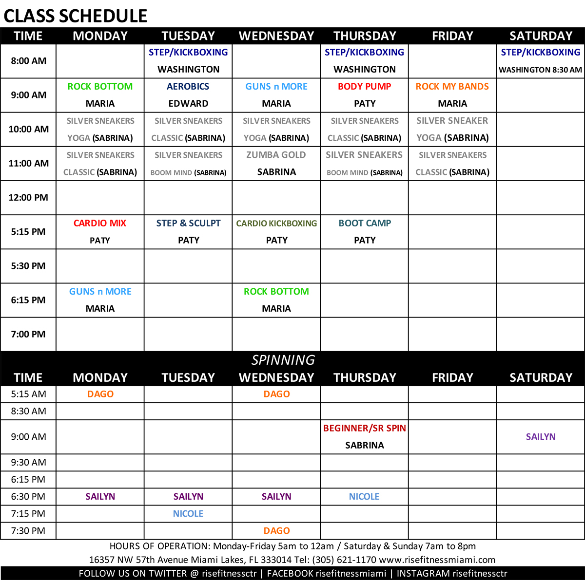 Rise Fitness Miami Group Fitness Class Schedule for August 2019