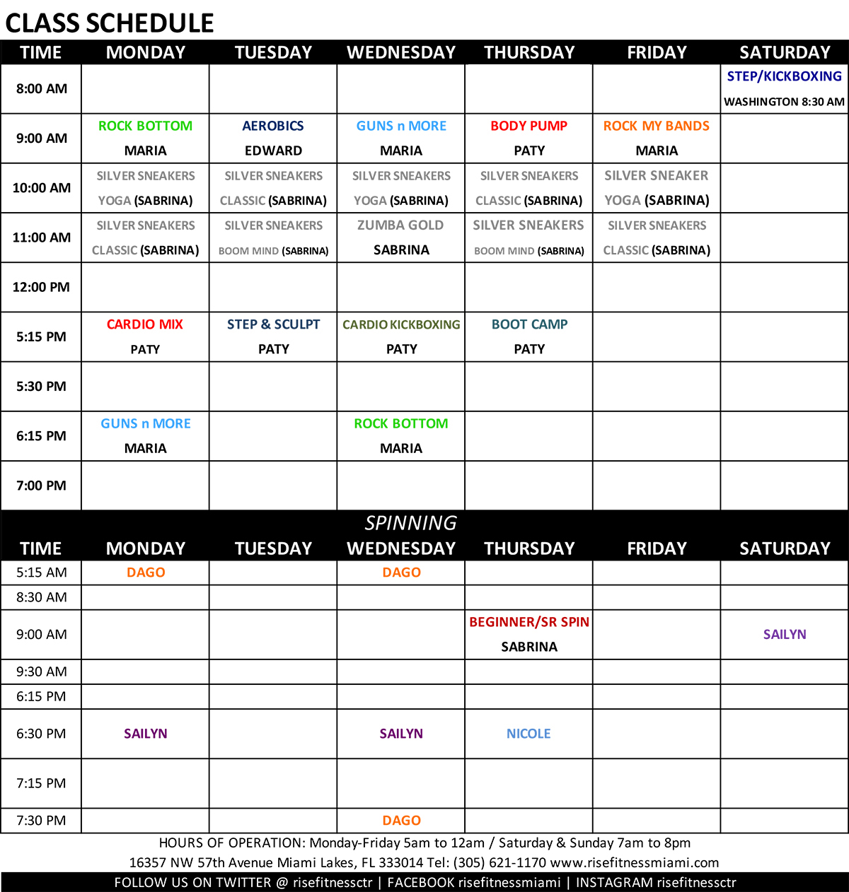 Rise Fitness Miami Group Fitness Class Schedule for November 2019