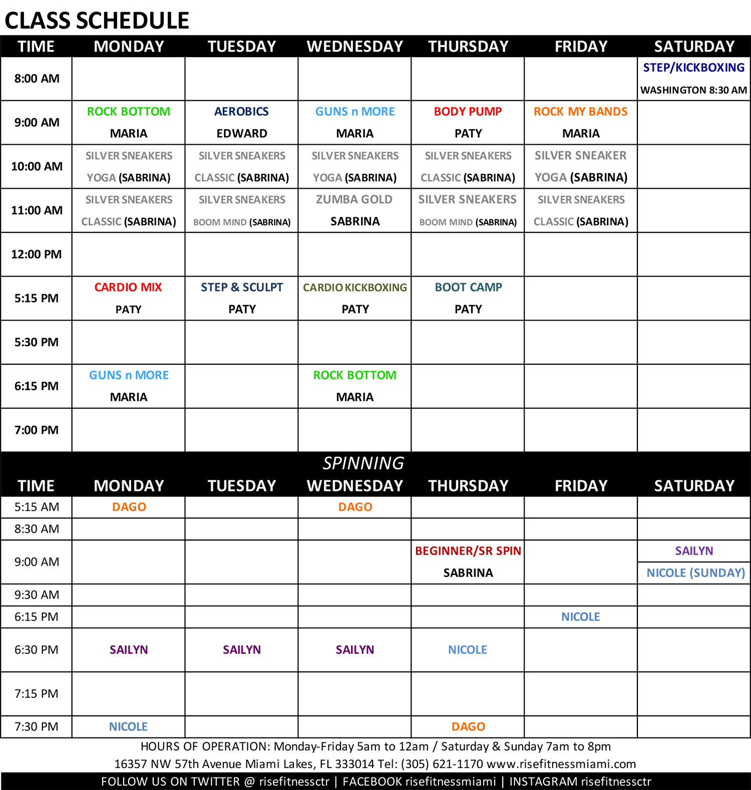 Rise Fitness Miami Group Fitness Class Schedule for January 2020